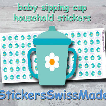 PLANNER STICKER || baby sipping cup || household || small colored icons | for your planner or bullet journal