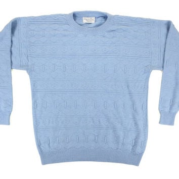 Christian Dior Sweater in Light Blue - Pullover Knit Nordic Pastel Jumper Ivy League Menswear - Men's Size Large Lrg L