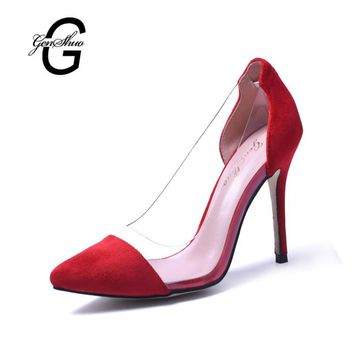 New Women High Heel Shoes Red Vintage Style Woman Shoes High Heels Black Clear Sexy We