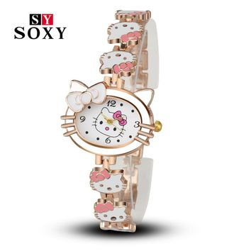 Women or Girls Cartoon Bracelet Watch Hello Kitty Fashion Casual Dress Quartz Wristwatch