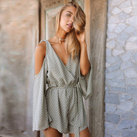 Jacelyn Mint Striped Boho Romper