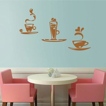 ik2026 Wall Decal Sticker tea cup coffee drink cocktail restaurant cafe shop