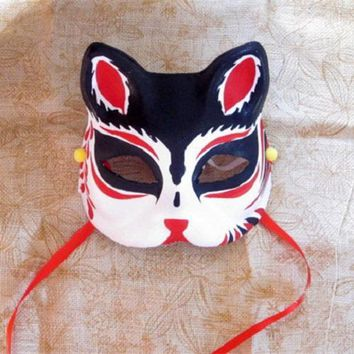Half Face Hand-Painted Japanese Style Fox Mask Kitsune Black Pattern Cosplay Masquerade for Party Halloween a1
