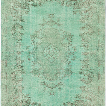 "7'0"" x 10'5"" Mint Green Turkish Overdyed Rug"