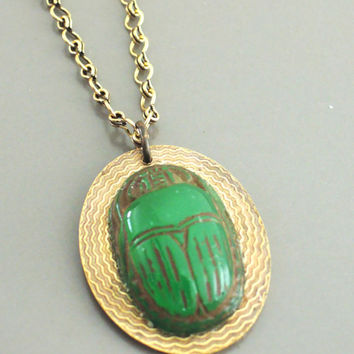 Vintage Necklace - Egyptian Jewelry - Scarab Necklace - Green Scarab - Vintage Brass necklace - handmade jewelry