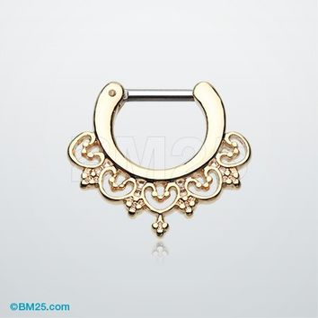 Golden Celestial Filigree Septum Clicker