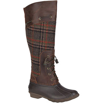Women's Saltwater Sela Tall Boot in Plaid by Sperry
