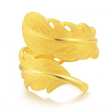 Adjustable Size Fashion Mens Ladies Golden Feather Leaf Ring Copper Jewelry Newest Band Ring