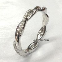 Pave Diamond Wedding Band Eternity Anniversary Ring 14K White Gold Unique Curved