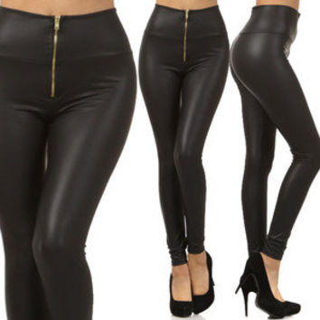 Matt Black High Waist Gold Zipper Liquid Leggings Pants Trousers Fashion Apparel