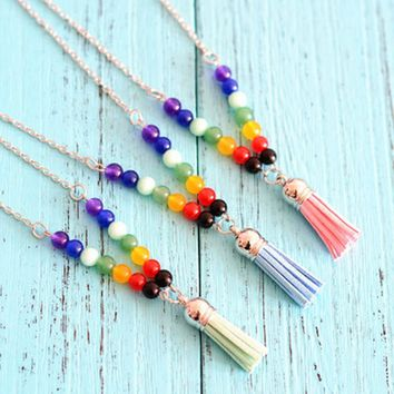 Natural Stone Colorful Beads Buddha Beads  Colorful Beads  Tassel Pendant Long Necklace For Women Jewelry