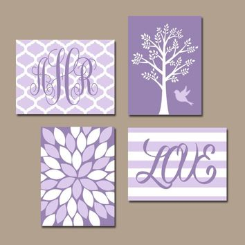 Lavender Lilac Nursery Wall Art, Baby Girl Nursery Decor, Love Stripe, Monogram Bedroom, Flower Burst, Tree Bird, CANVAS or Print, Set of 4