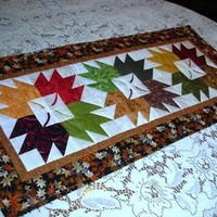 Quilted Table Runner Colorful Autumn Leaves
