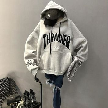 ONETOW Thrasher Hooded Top Sweater Pullover Sweatshirt Hoodie