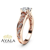Special Reserved - Natural Diamond 14K Rose Gold Engagement Ring - 3rd payment