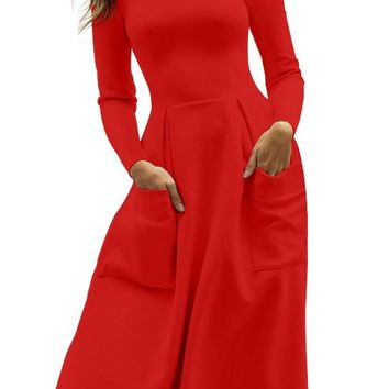 Casual Red Bateau Collar Big Pocket Midi Skater Dress