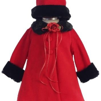 Red Fleece & Black Fur Trim Dress Coat  with Matching Fur Trimmed Hat (Baby Girls)