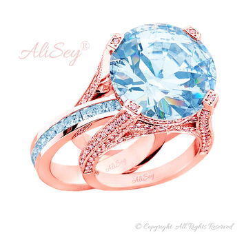 14K Rose Gold, Sky Blue Topaz with Diamonds Wedding Set. Style # ASR07RG-BTZ