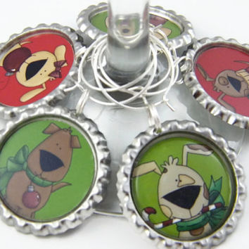 Wine Glass Charms , Festive Party Favors , Christmas Table Decoration , Christmas Dogs Set 2