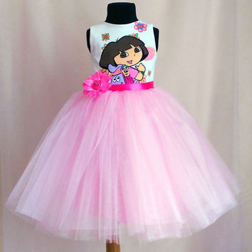 Dora Birthday Dress, Tutu Dora outfit, Disney Dora Party Dress, Handmade Tutu Birthday Dora Dress, Dora Dress