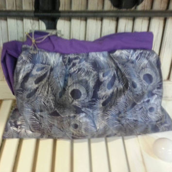 Clutch Gorgeous Purple and Silver Peacock handmade makeup bag