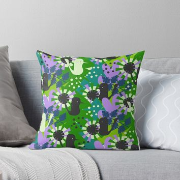 'Funny birds and spring vegetation' Throw Pillow by cocodes