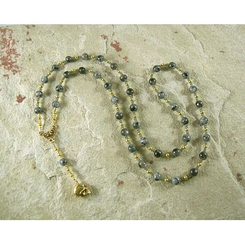 Nephthys Prayer Bead Necklace in Labradorite: Egyptian Goddess of Death, Mourning, Rebirth