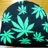 Green Marijuana Weed MJ Leaves on Black Knitted Winter Skull Beanie Ski Cap-New!