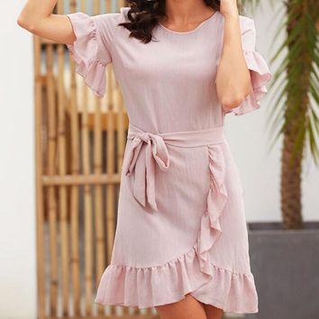 Fashion Women Pure Color Short Sleeve Flounce Irregular Hem Dress
