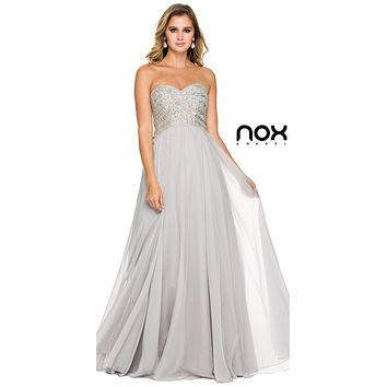 Poofy Prom Ball Gown Silver Floor Length Strapless Sequins