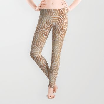 Iced coffee and white zentangles Leggings by Savousepate