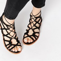 KG By Kurt Geiger Black Suede Gladiator Strappy Flat Sandals
