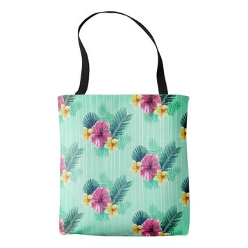 Cool blue base with pink floral texture tote bag