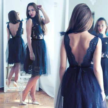 Elegant Dark Navy Cocktail Dresses Open Back Knee Length Short Prom Dress Lace Evening Party Gowns 2017 Cheap