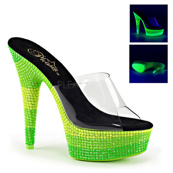 Neon Green Rave Shoes 6 Inch Neon UV Reactive Plarforms
