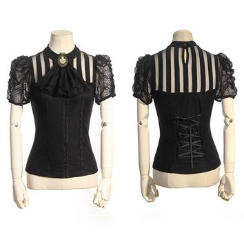 Steampunk Gothic Women Short Sleeve Shirt Rock Punk Sexy Transparent Lace Blouses with Detachable Necktie Classical Vintage Tops