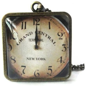 Grand Central Terminal Replica Clock Glass Antique Brass Pendant