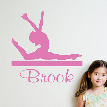 Personalized Monogram Wall Decal Gymnastic Girl on a Beam Silhouette Sports Decals