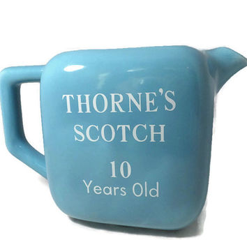 Vintage Thornes Scotch Whisky Pub Jug, Whiskey Pitcher, Barware, Collectible, Turquoise American Pottery