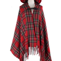 Red Tartan Plaid Soft Hooded Cardigan