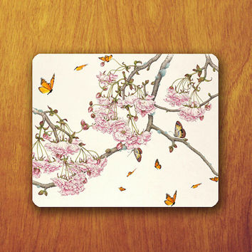 Butterfly Painting Mouse Pad Beautiful Animal Pink Japanese Flower MousePad Office Pad Work Accessory Personalized Custom Gift