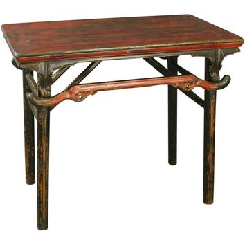Pre-owned Antique Chinese Red Black Campaign Military Table