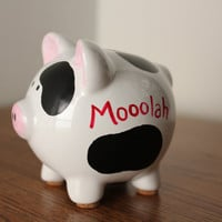 Moolah Black and White Cow Bank by PhoenixDesignsMT on Etsy