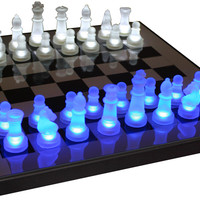 Lumisource LED Glow Chess Set Blue / White