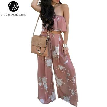 Lily Rosie Girl Boho Print Chiffon Jumpsuit Romper Womne Floral Two-Piece Split Long Playsuit 2017 Summer Beach Loose Overalls