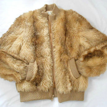 Vintage Lilli Ann Mod Faux Fur Jacket Medium Tan Mink Bomber Jacket 1970s