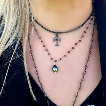 Pave Diamond Cross Necklace on Leather Cord