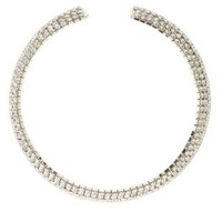 Silver Curved Rhinestone Choker Necklace by Charlotte Russe