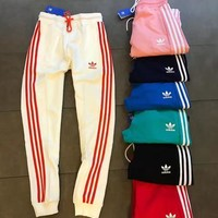 Adidas Fashion Casual Stripe Drawstring Sport Running Pants Trousers Sweatpants H-XYCL01