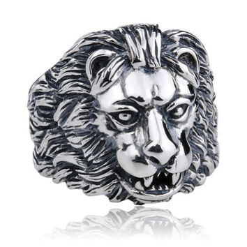 Moon Wings Vintage Men's Ring Lion Relief Sculpture Stainless Steel Ring Size 9